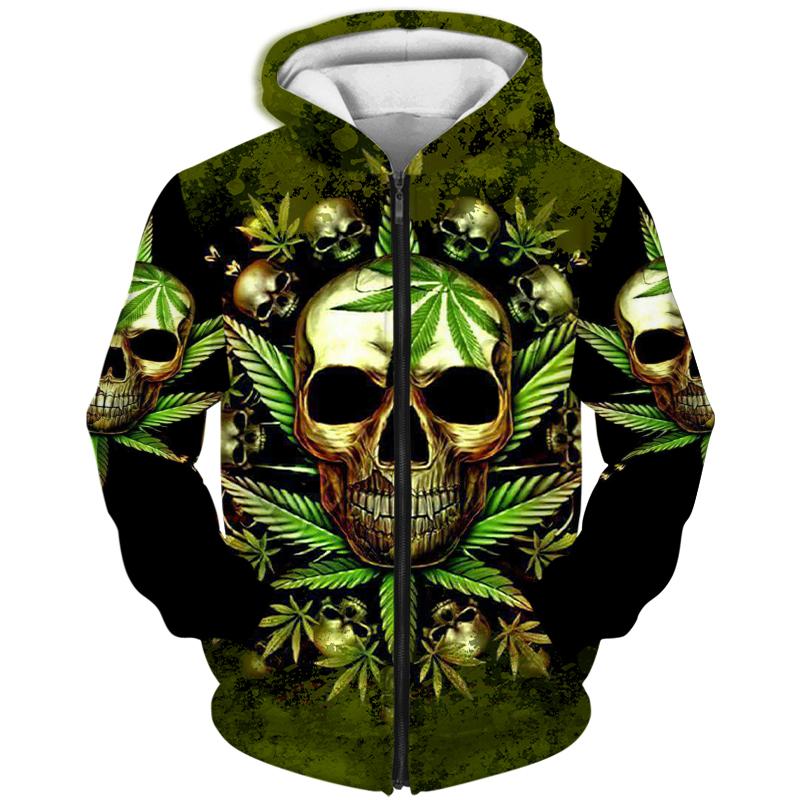 Skull King weedy in green hoodie 3D 16