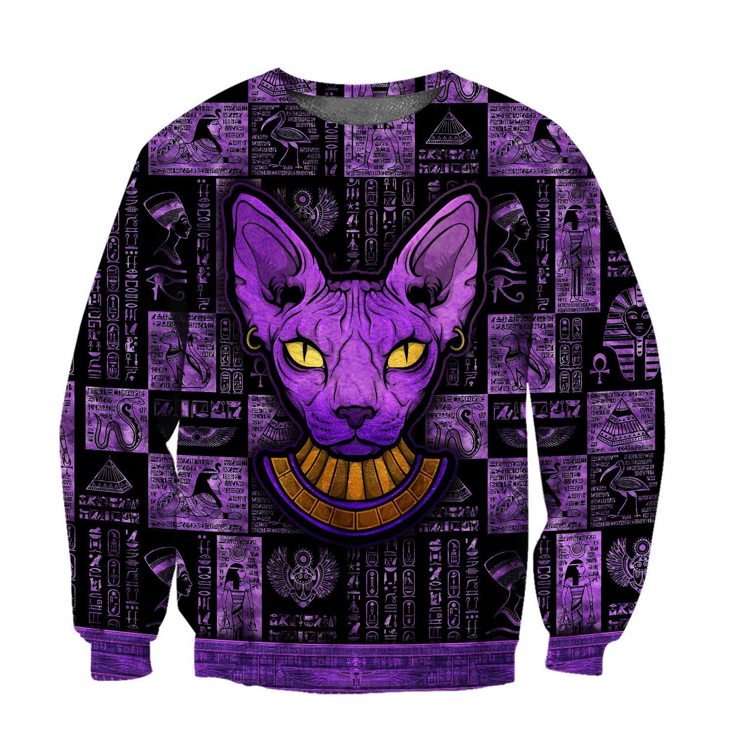 Egyptian sphynx cat hoodie 3D 14