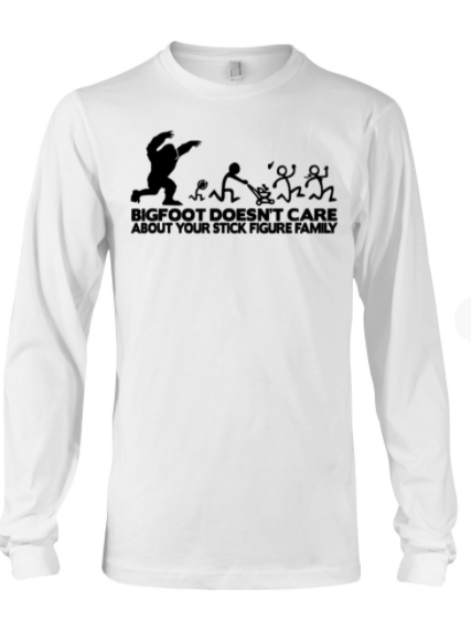 Bigfoot doesn't care about your stick figure family sticker 1