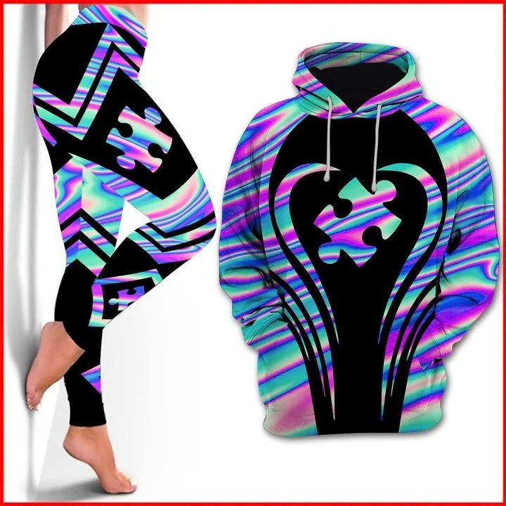 Autism Awareness holographic 3d hoodie and legging