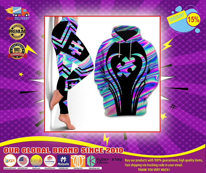 Autism Awareness holographic 3d hoodie and legging 4