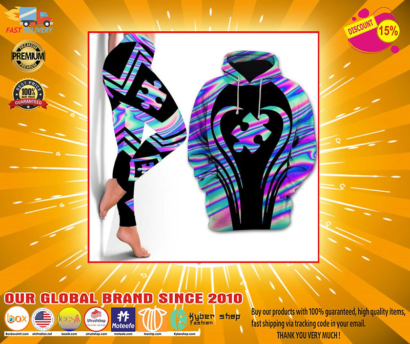 Autism Awareness holographic 3d hoodie and legging 1