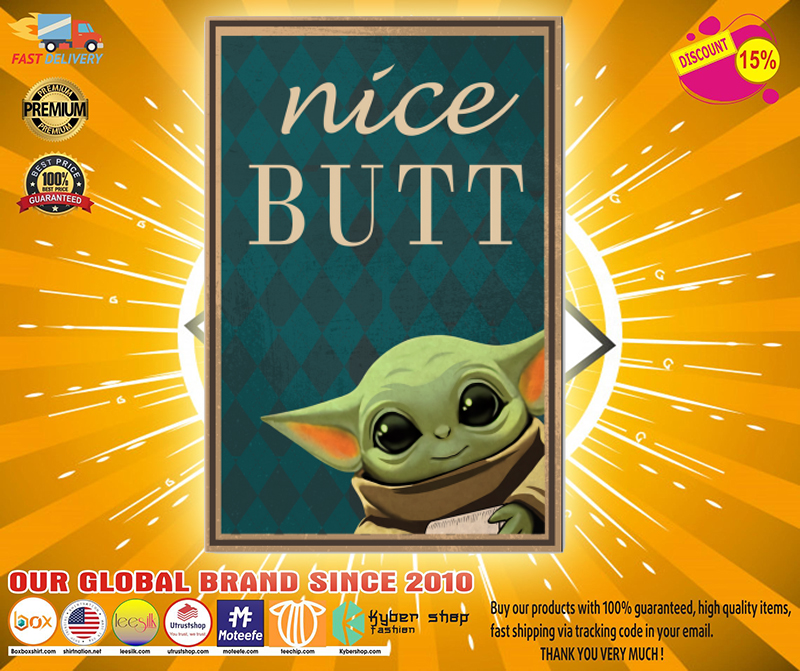 Baby yoda nice butt poster 1