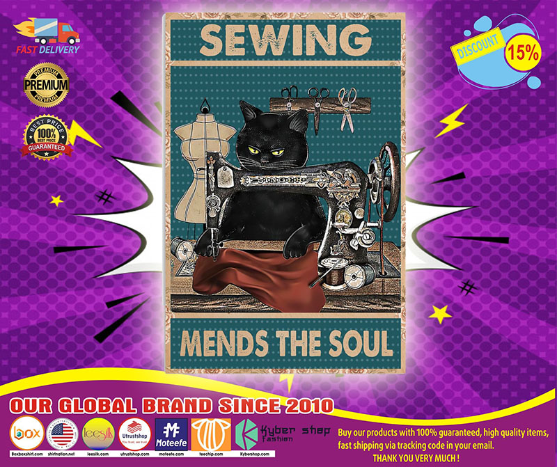 Black cat sewing mends the soul poster 4