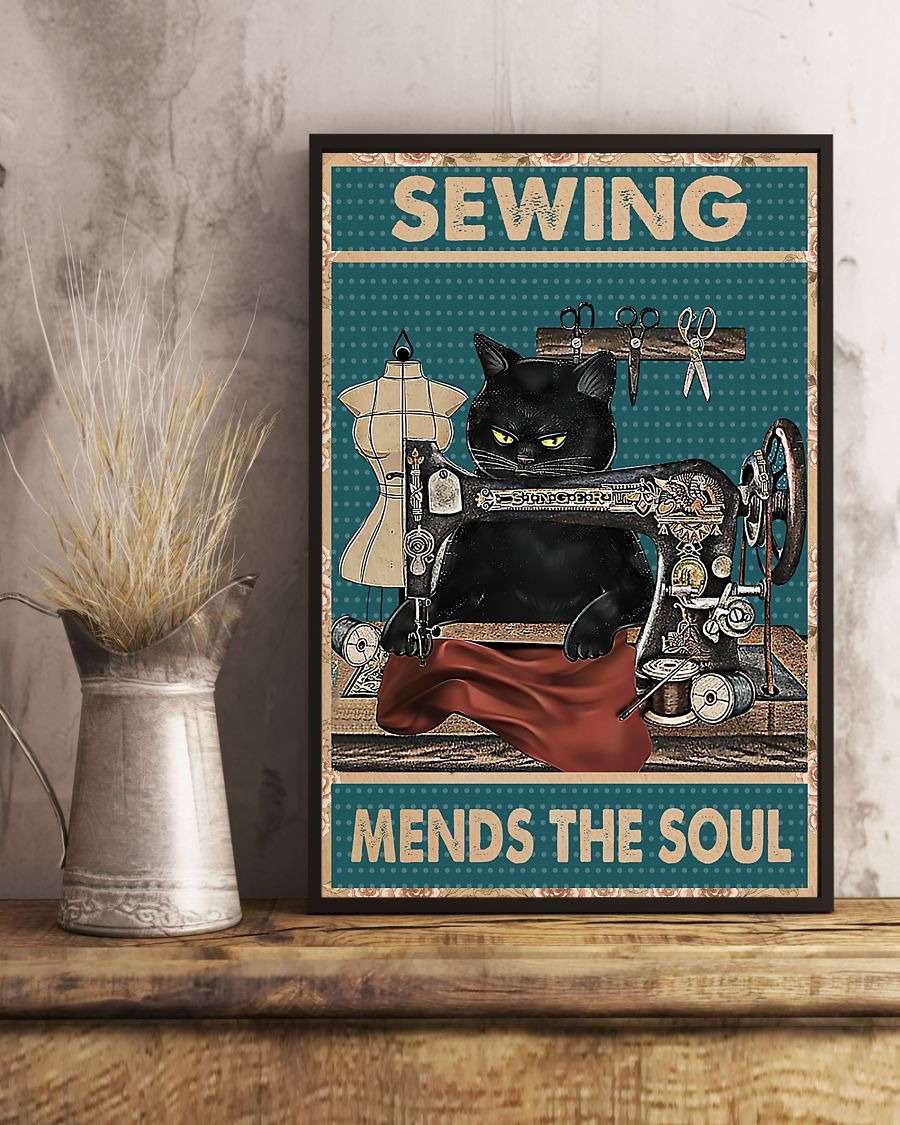 Black cat sewing mends the soul poster 2