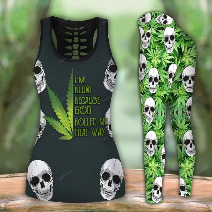 Cannabis skull I'm blunt because god rolled me that way 3d hoodie and legging 3