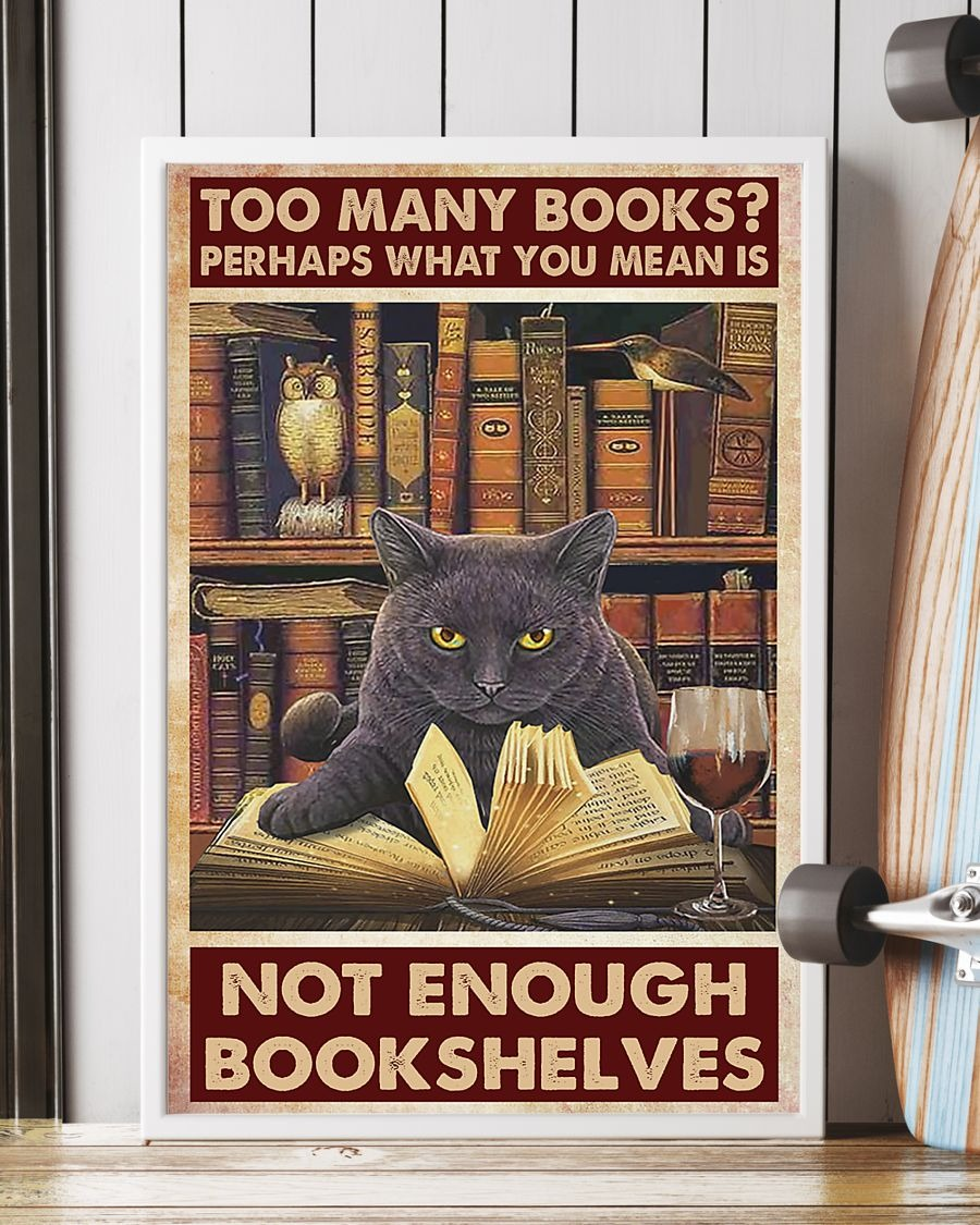 Cat Too many books perhaps what you mean is not enough bookshelves poster 1