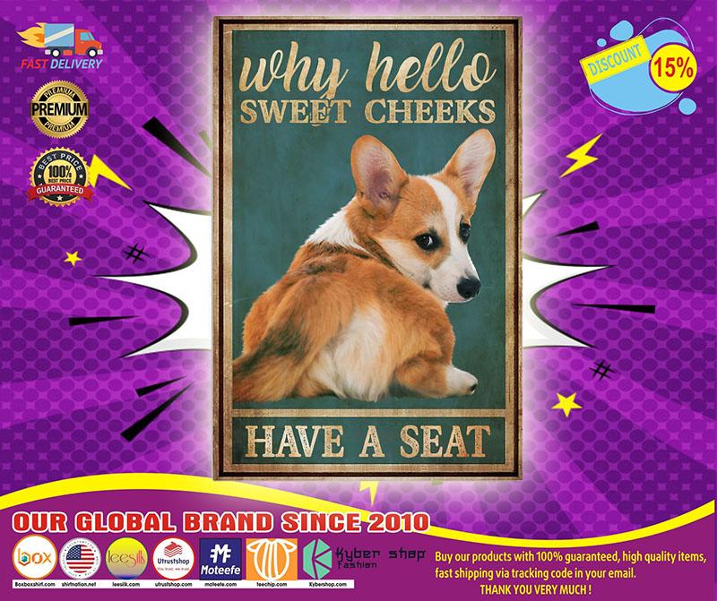 Corgi hello sweet cheeks have a seat poster 4