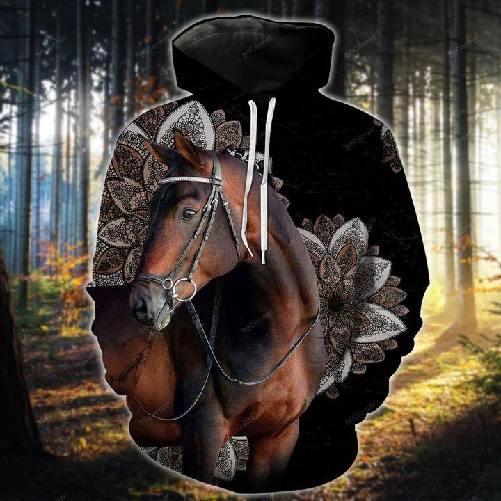 Dark brown horse hoodie and legging 2