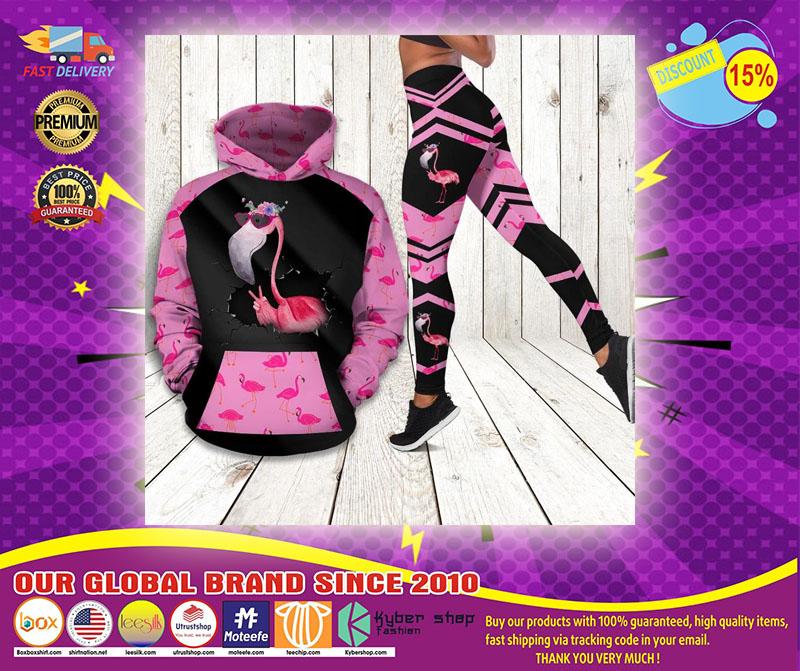 Flamingo 3d hoodie and legging 4