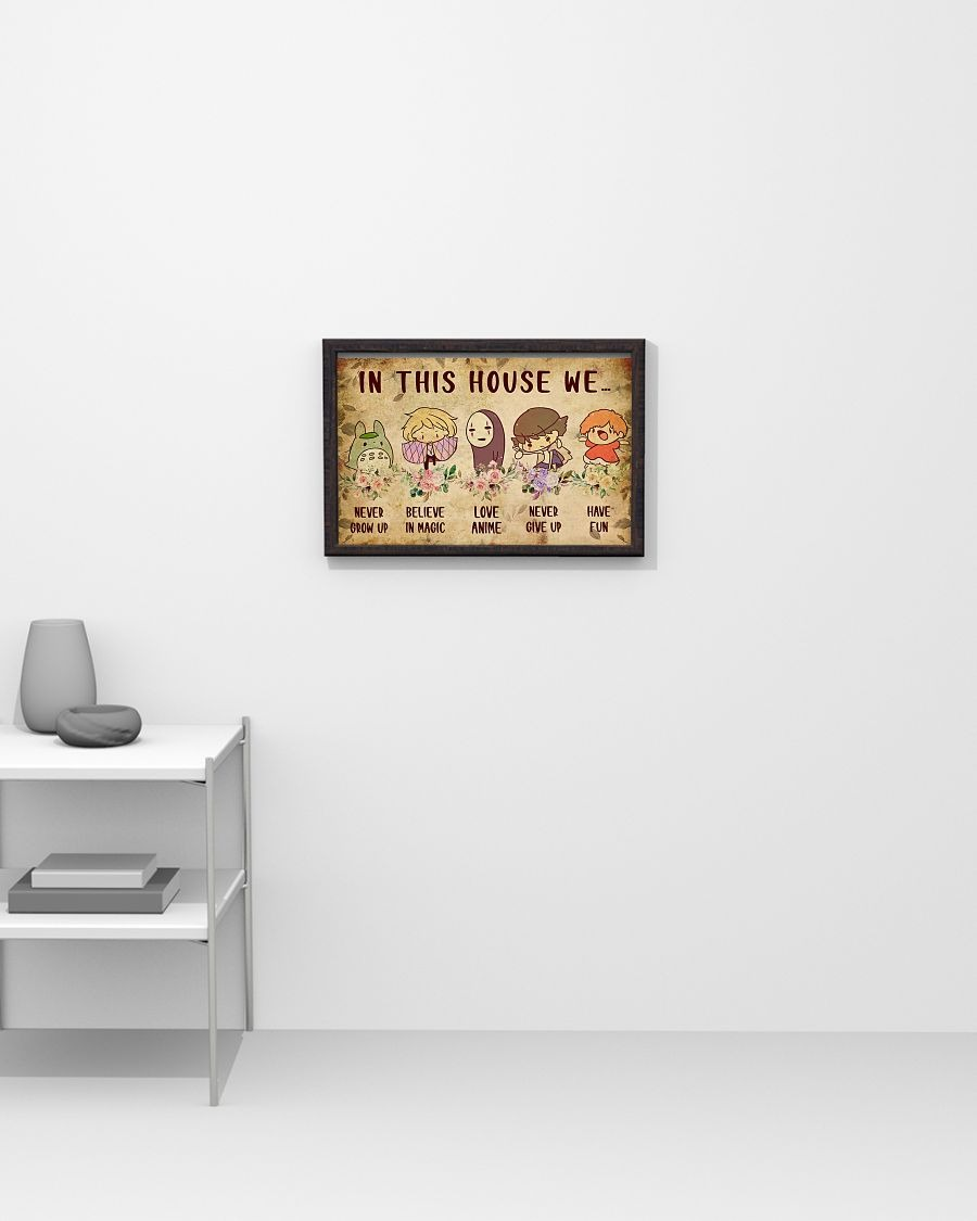 In this house we never grow up believe in magic love anime never give up have fun poster 2