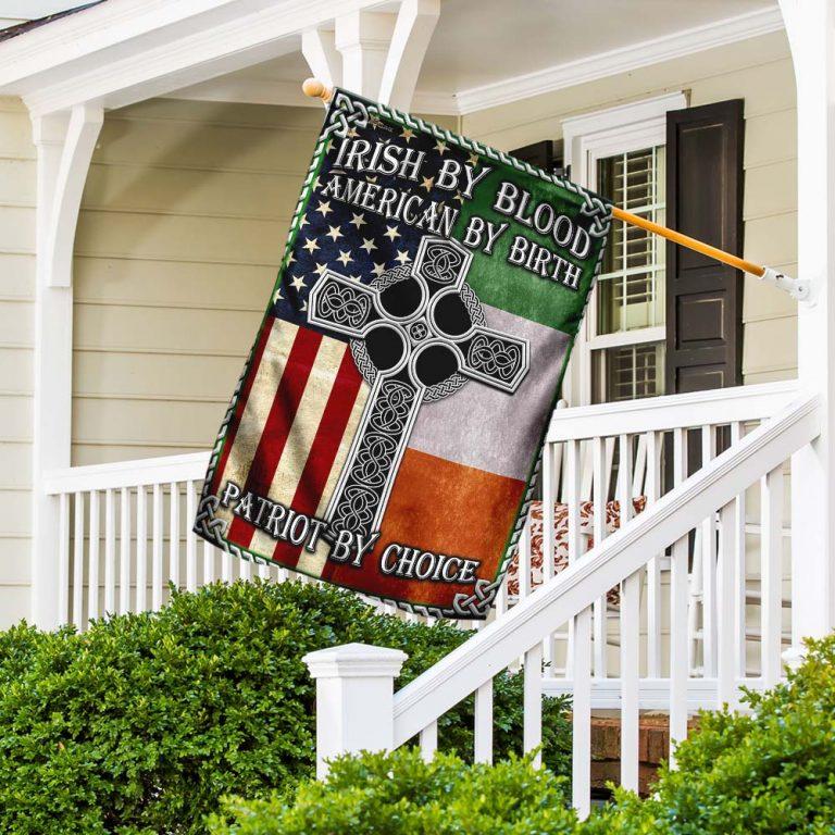 Irish By Blood American By Birth Patriot By Choice Flag 1