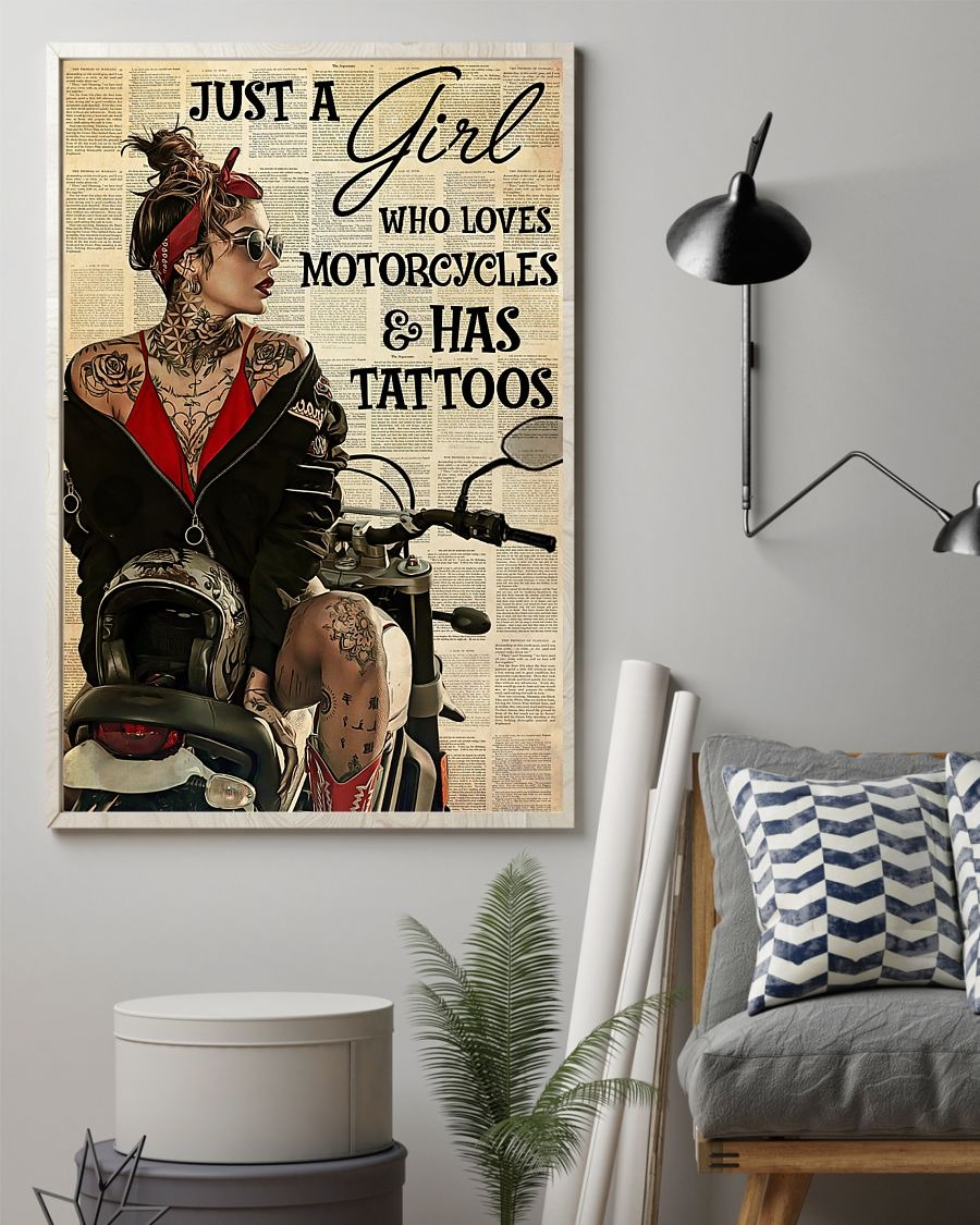 Just a girl who loves motorcycles and has tattoos poster 3