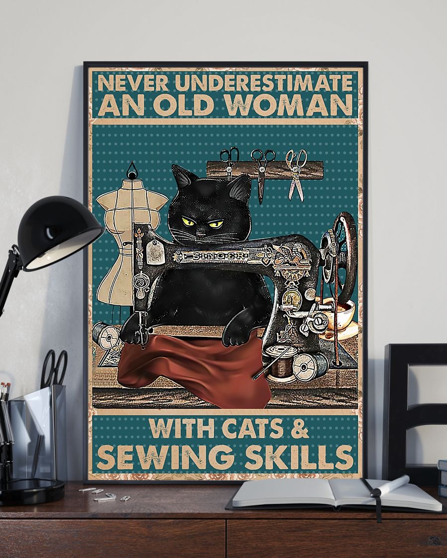 Never underestimate an old woman with cats and sewing skills poster 3