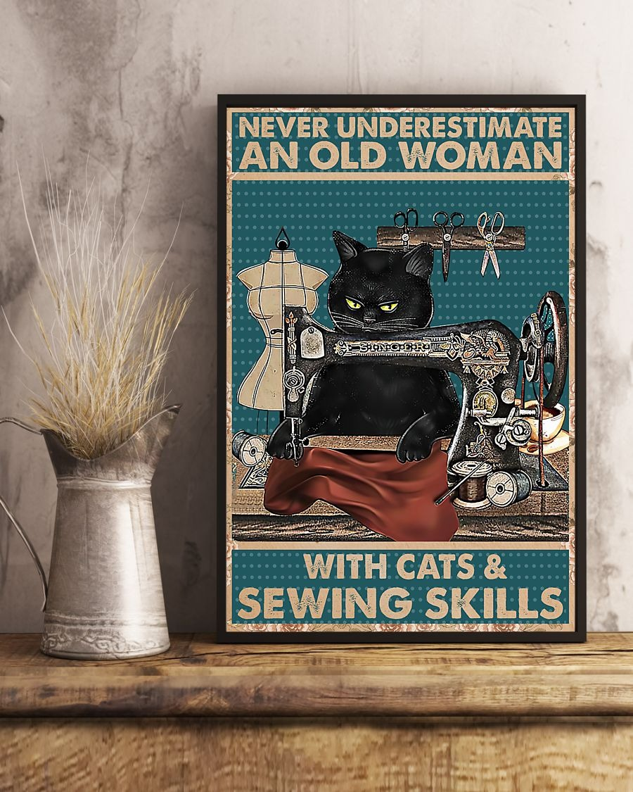 Never underestimate an old woman with cats and sewing skills poster 2
