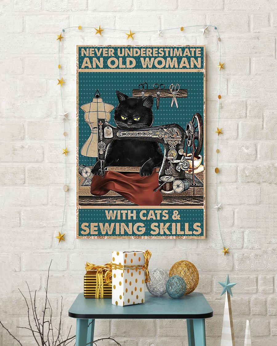 Never underestimate an old woman with cats and sewing skills poster 1