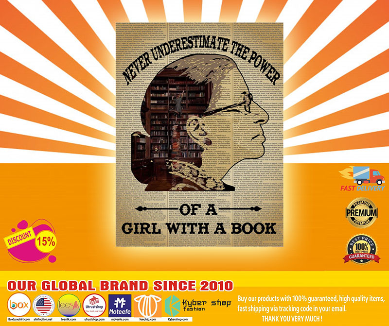 Never underestimate the power of a girl with a book Ruth Bader Ginsburg poster 1