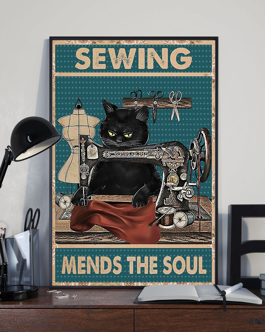 Poster Cat sewing mends the soul 3