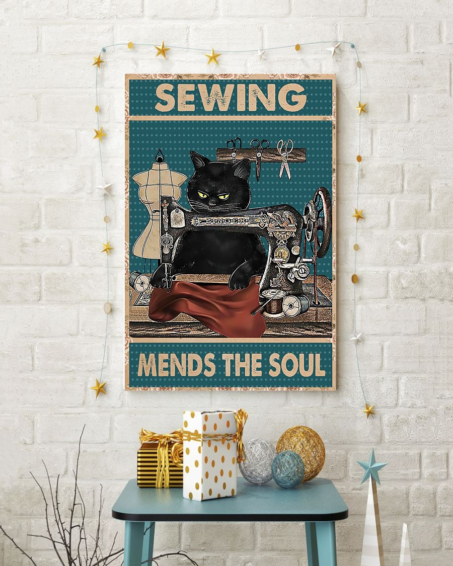 Poster Cat sewing mends the soul 1