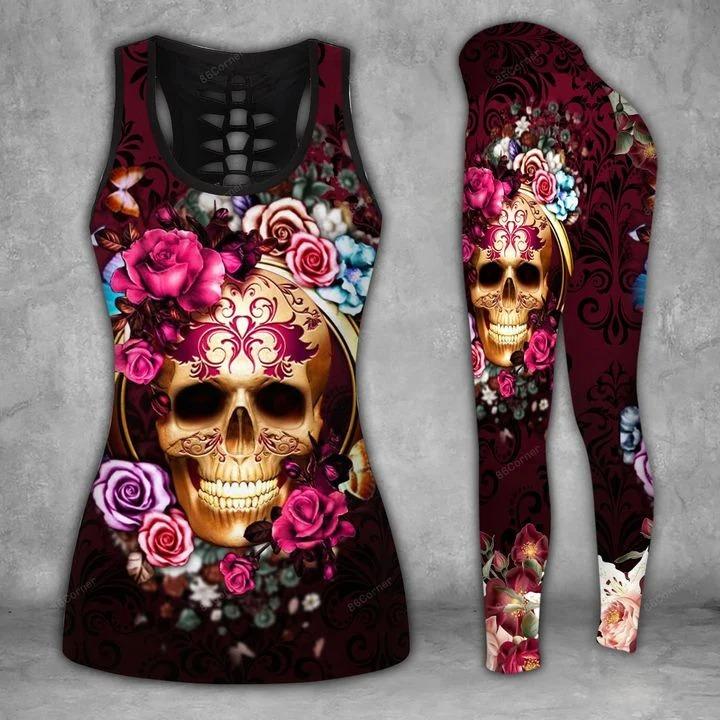 Purple skull flower 3d hoodie and legging 3