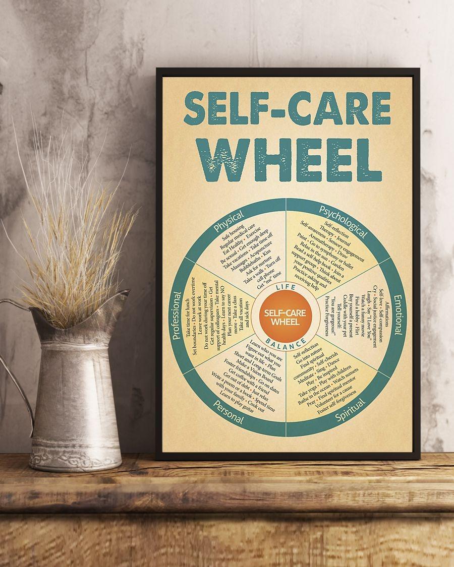Social worker self care wheel poster 1