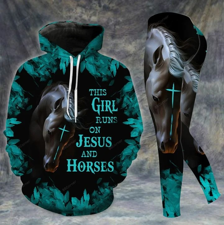 This girl runs on Jesus and horses 3d hoodie and legging