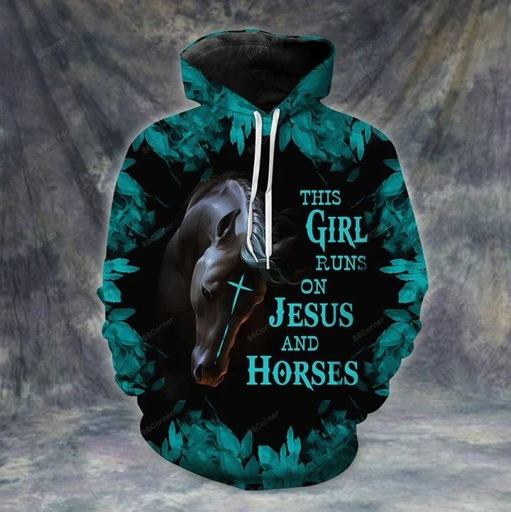 This girl runs on Jesus and horses 3d hoodie and legging 2
