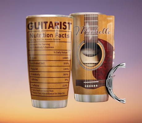 Guitarist nutrition facts custom personalized name tumbler 7