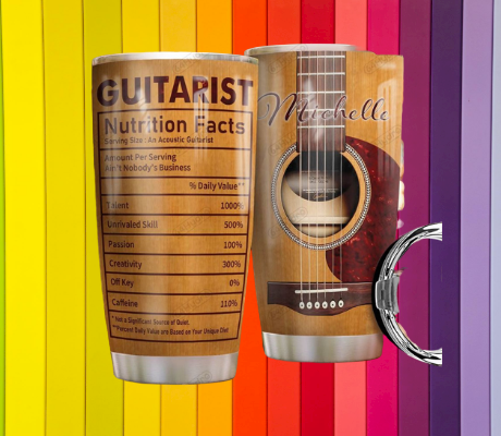 Guitarist nutrition facts custom personalized name tumbler 5