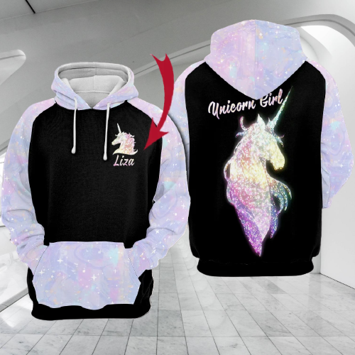 Unicorn girl custom name 3d hoodie