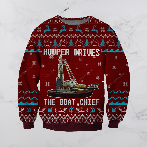 HOOPER DRIVES THE BOAT CHIEF UGLY CHRISTMAS SWEATER