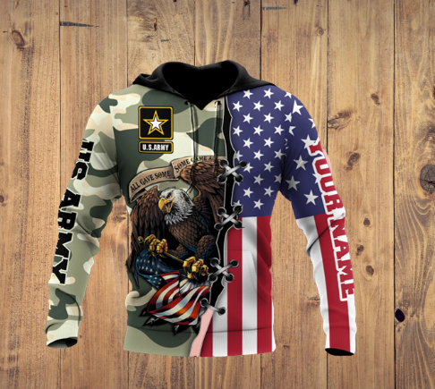 US Army Veteran 3D Personalized All Over Printed Hoodie
