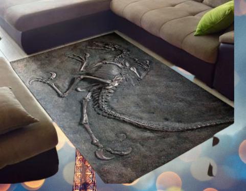 Dinosaur fossil rug
