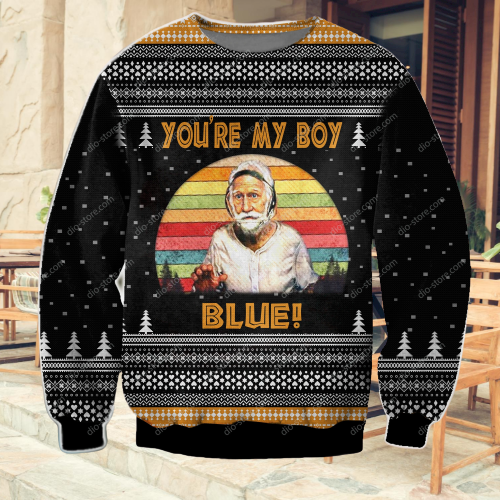 OLD SCHOOL PATRICK CRANSHAW YOU'RE MY BOY BLUE UGLY CHRISTMAS SWEATER 7