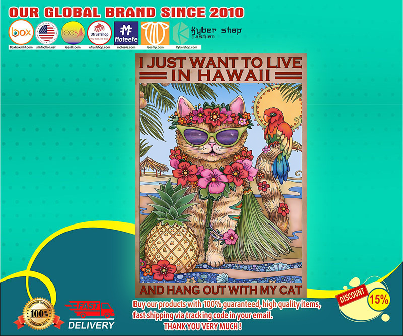 I just want to live in hawaii and hang out with my cat poster 3