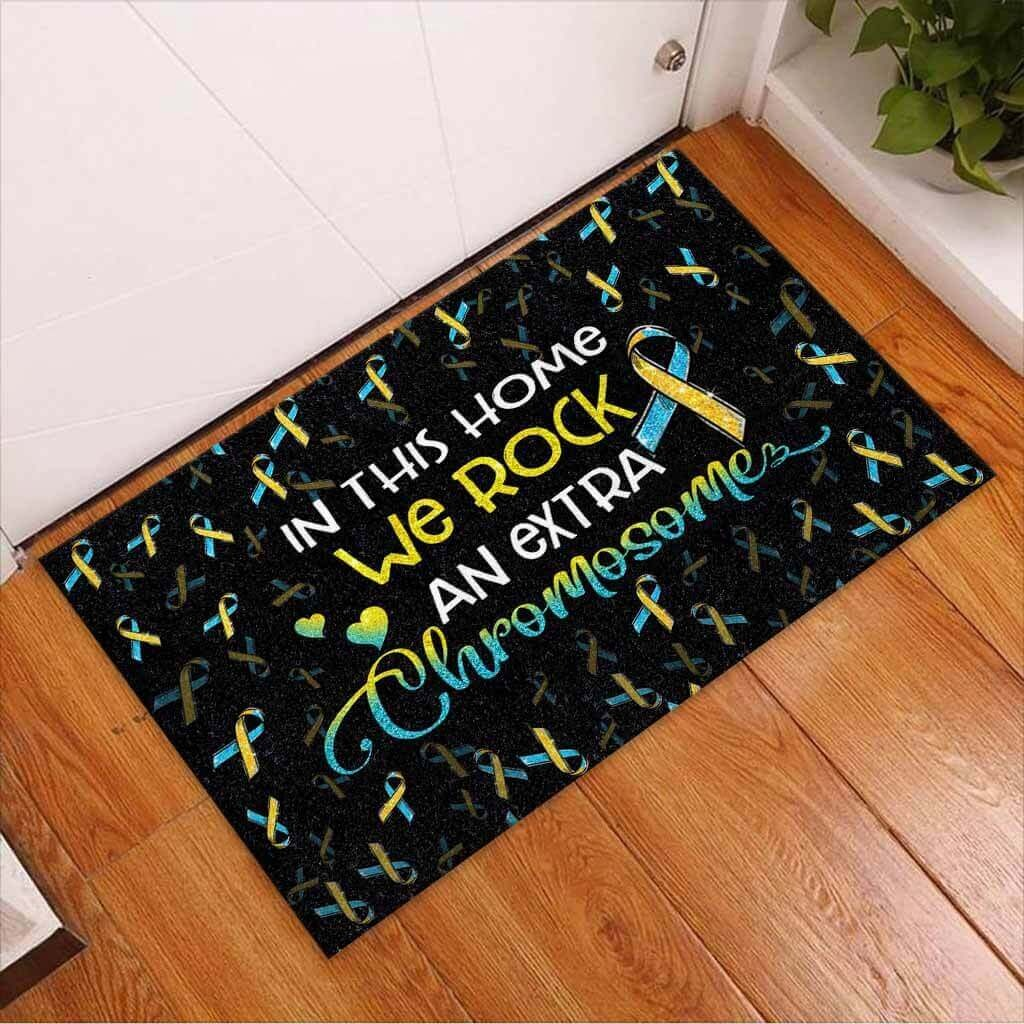 In this home we rock an extra chromosome doormat 3
