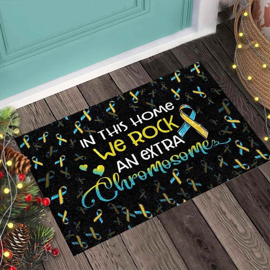 In this home we rock an extra chromosome doormat 4