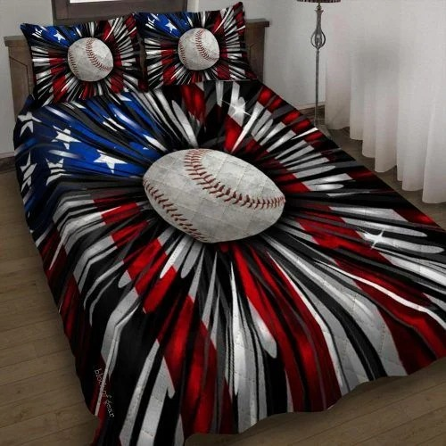 Baseball american flag bedding set
