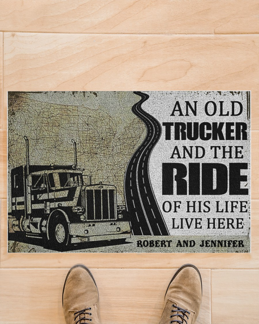 An old trucker and the ride of his life live here doormat 21