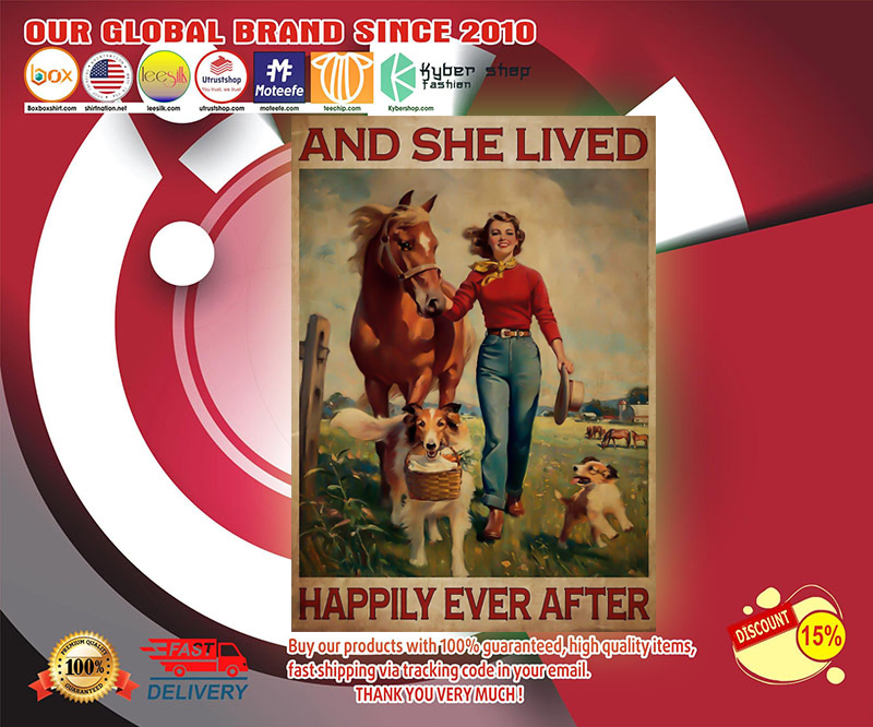 Girl with horse and dog and she lived happily ever after poster 19