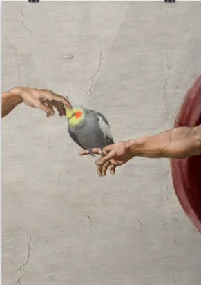 Poster Michelangelo Parrot and hand