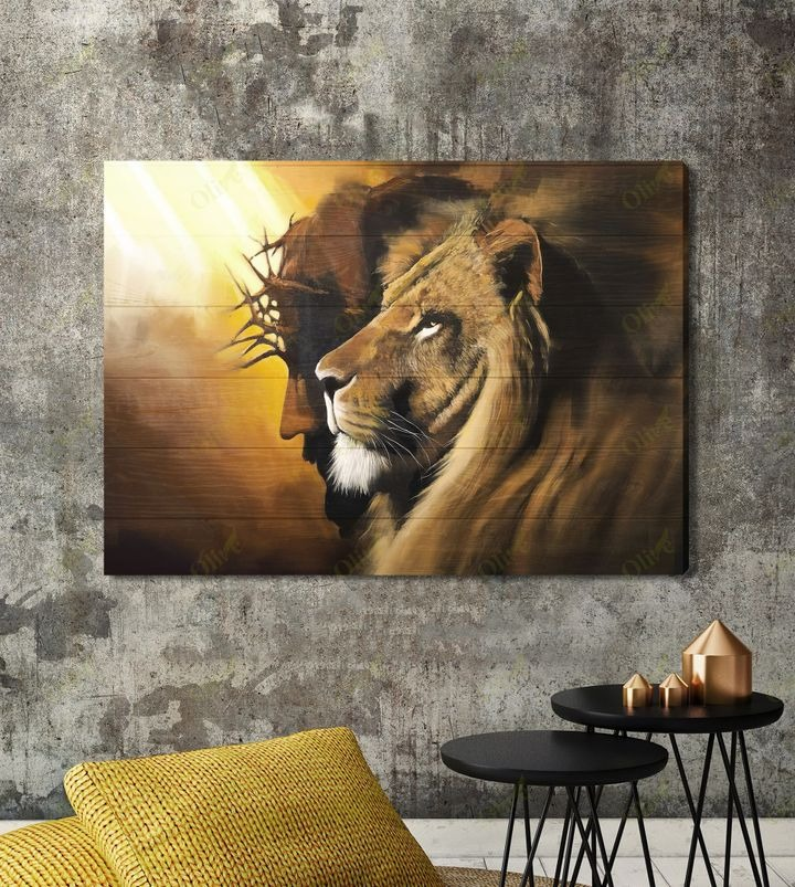 Awesome lion and God canvas A1