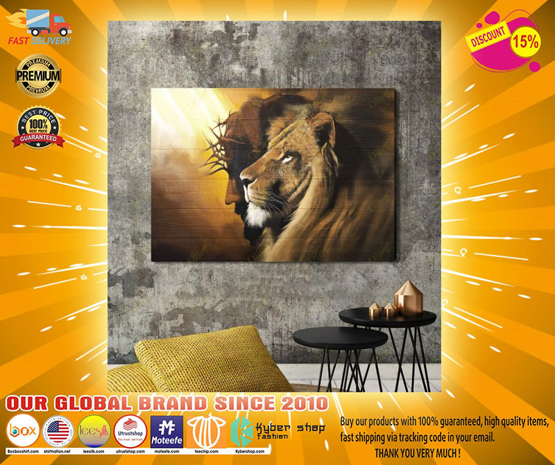 Awesome lion and God canvas A3
