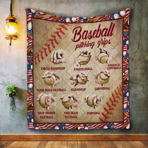 Baseball pitching grips quilt