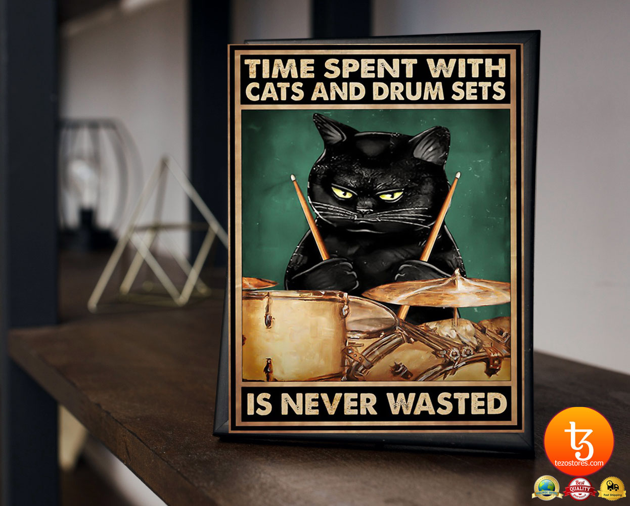 Black cat time spent with cats and drum sets is never wasted poster 10