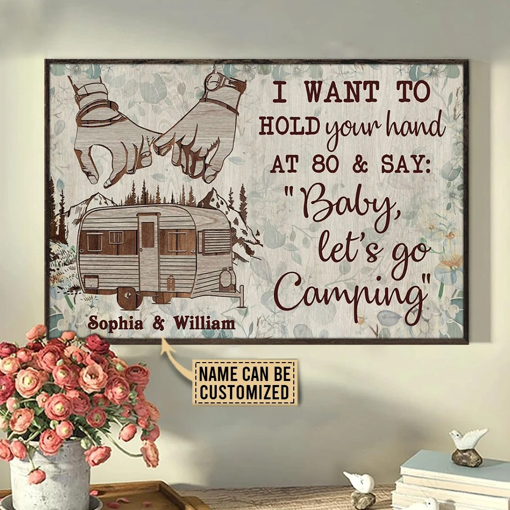 Camping I want to hold your hand custom name poster4