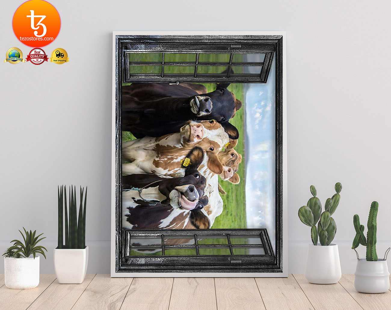 Cow 3d window poster