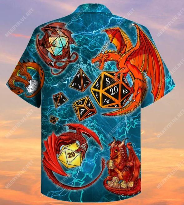 Dragon playing dice hawaiian A3