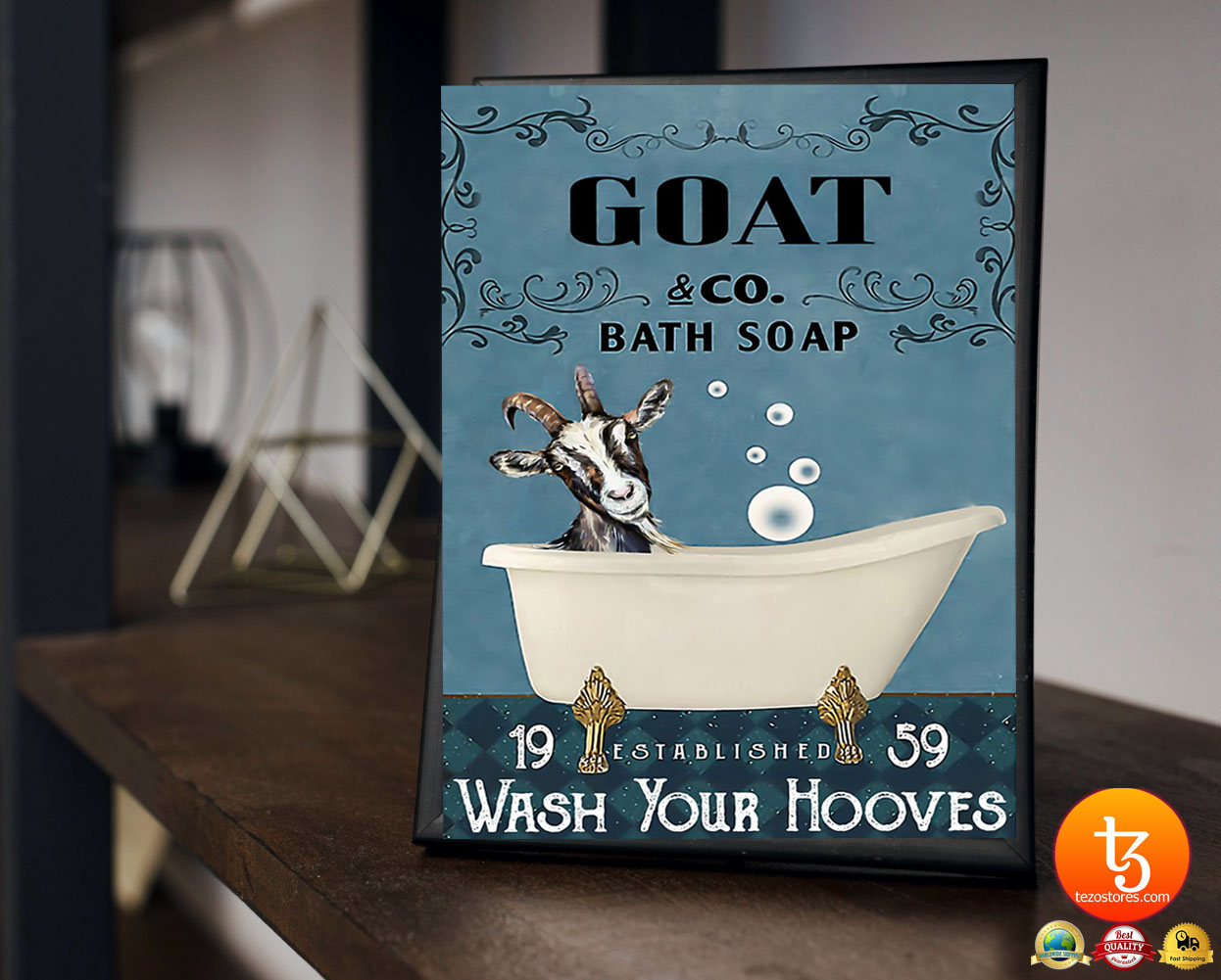 Goat and bath soap wash your hooves poster