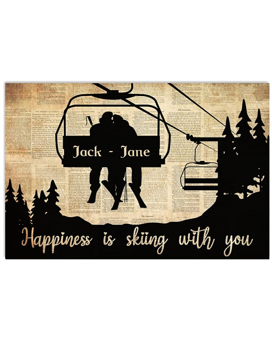 Happiness is skiing with you custom name poster